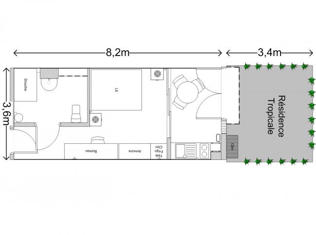 Cool plan appartement m studio with plan amenagement studio 25m2 for Plan amenagement studio 25m2